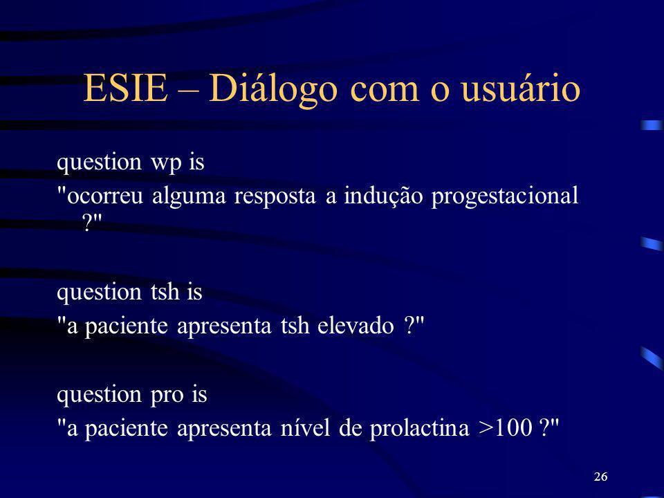 ESIE – Diálogo com o usuário