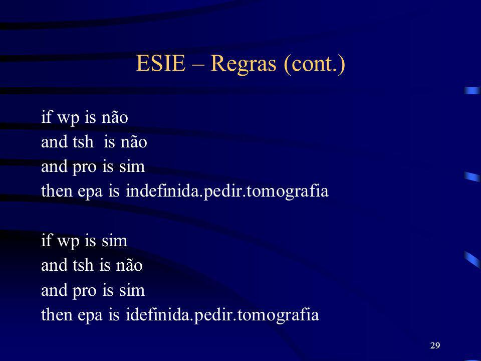 ESIE – Regras (cont.) if wp is não and tsh is não and pro is sim