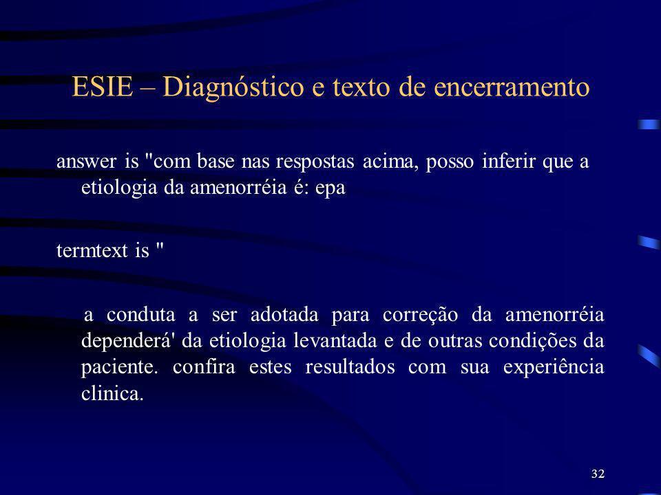 ESIE – Diagnóstico e texto de encerramento