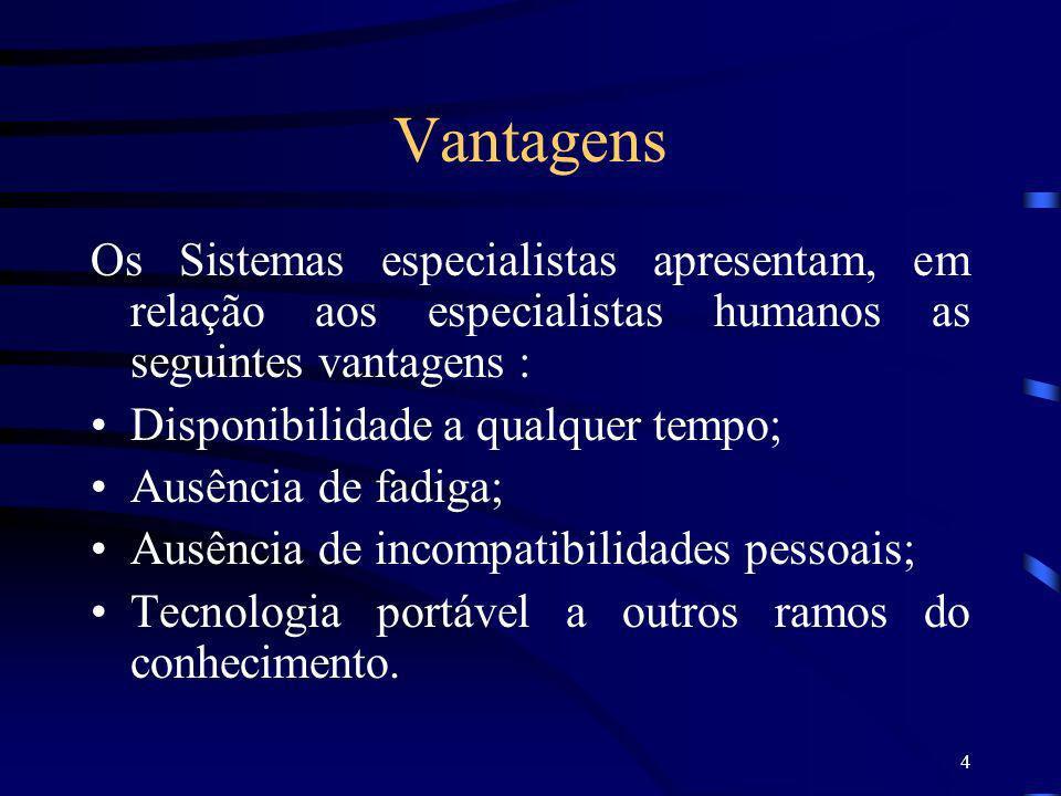 Vantagens Os Sistemas especialistas apresentam, em relação aos especialistas humanos as seguintes vantagens :