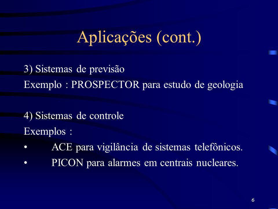 Aplicações (cont.) 3) Sistemas de previsão
