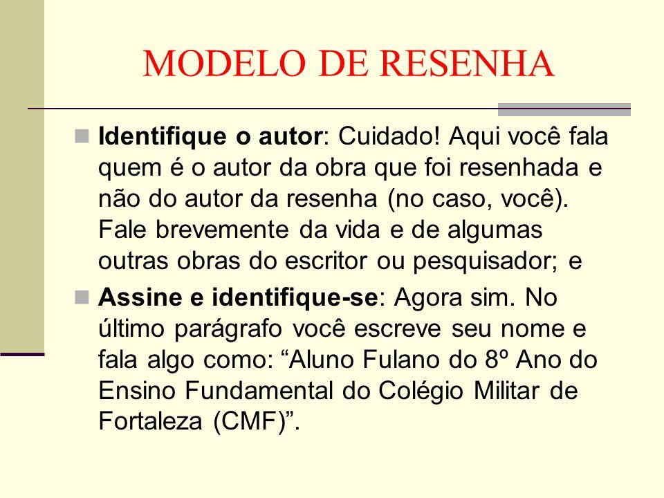 MODELO DE RESENHA