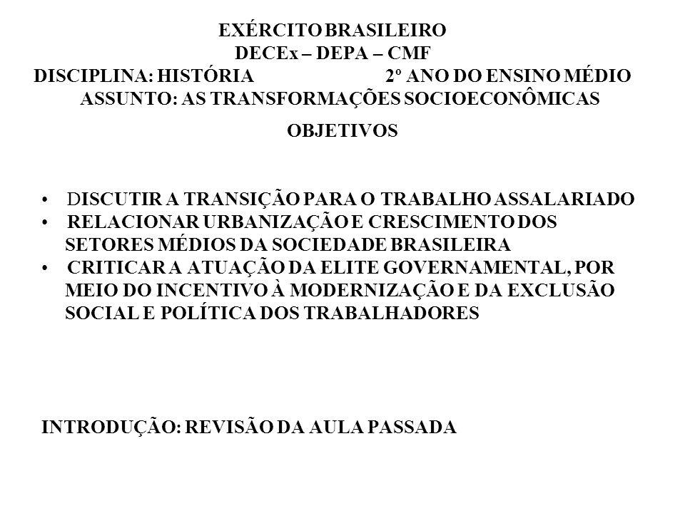 EXÉRCITO BRASILEIRO DECEx – DEPA – CMF DISCIPLINA: HISTÓRIA 2º ANO DO ENSINO MÉDIO ASSUNTO: AS TRANSFORMAÇÕES SOCIOECONÔMICAS