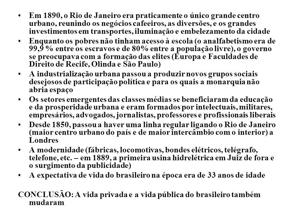 Em 1890, o Rio de Janeiro era praticamente o único grande centro urbano, reunindo os negócios cafeeiros, as diversões, e os grandes investimentos em transportes, iluminação e embelezamento da cidade