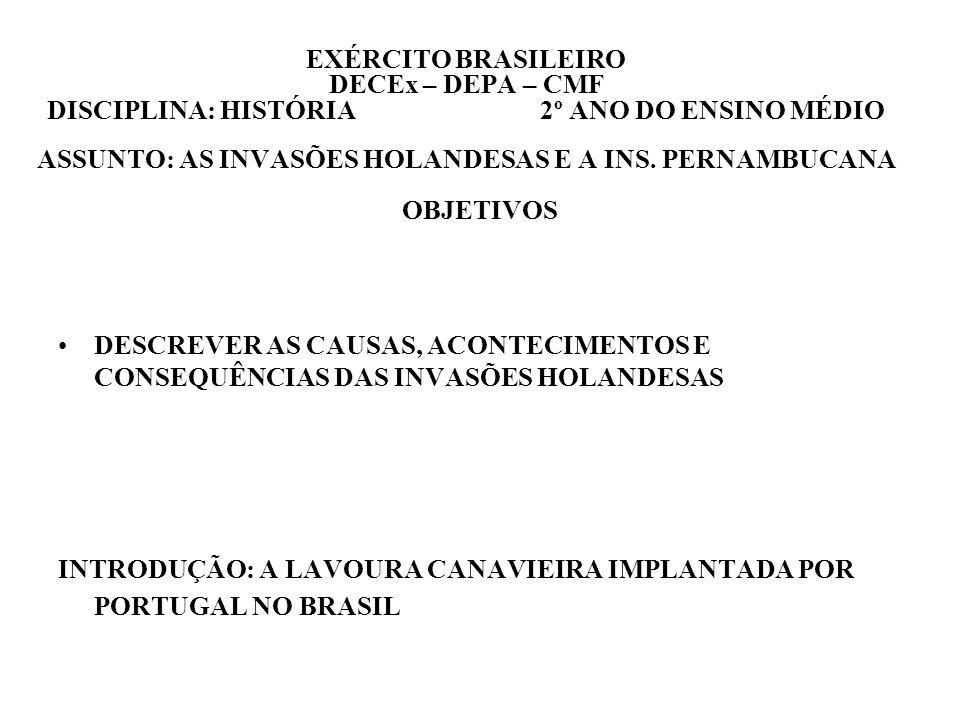 EXÉRCITO BRASILEIRO DECEx – DEPA – CMF DISCIPLINA: HISTÓRIA 2º ANO DO ENSINO MÉDIO ASSUNTO: AS INVASÕES HOLANDESAS E A INS. PERNAMBUCANA