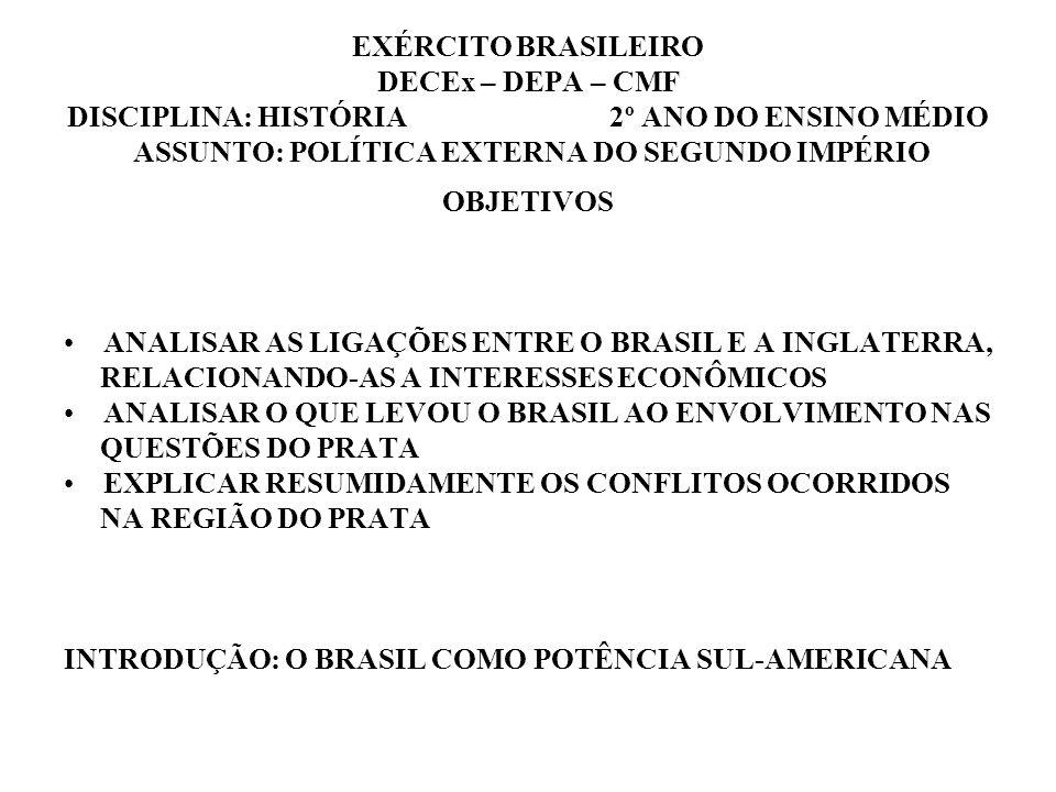 EXÉRCITO BRASILEIRO DECEx – DEPA – CMF DISCIPLINA: HISTÓRIA 2º ANO DO ENSINO MÉDIO ASSUNTO: POLÍTICA EXTERNA DO SEGUNDO IMPÉRIO