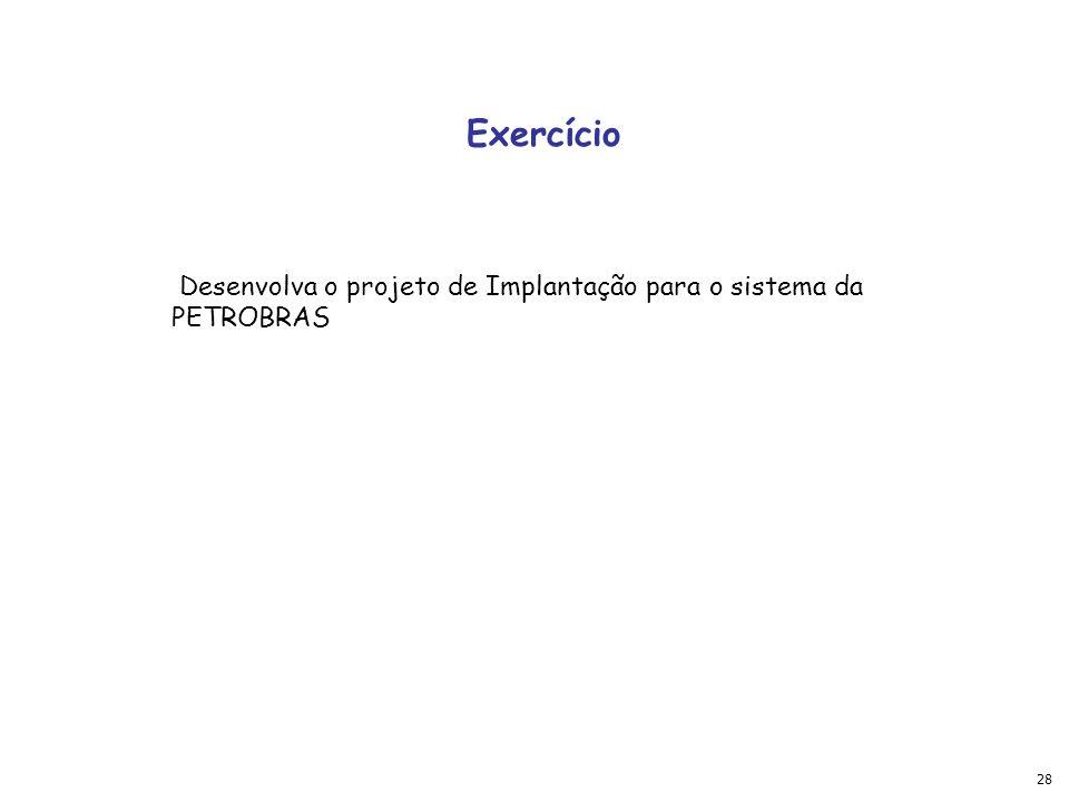 Exercício Desenvolva o projeto de Implantação para o sistema da PETROBRAS