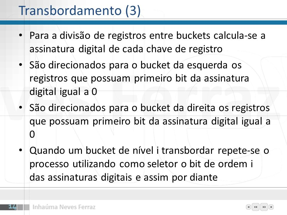 Transbordamento (3)Para a divisão de registros entre buckets calcula-se a assinatura digital de cada chave de registro.