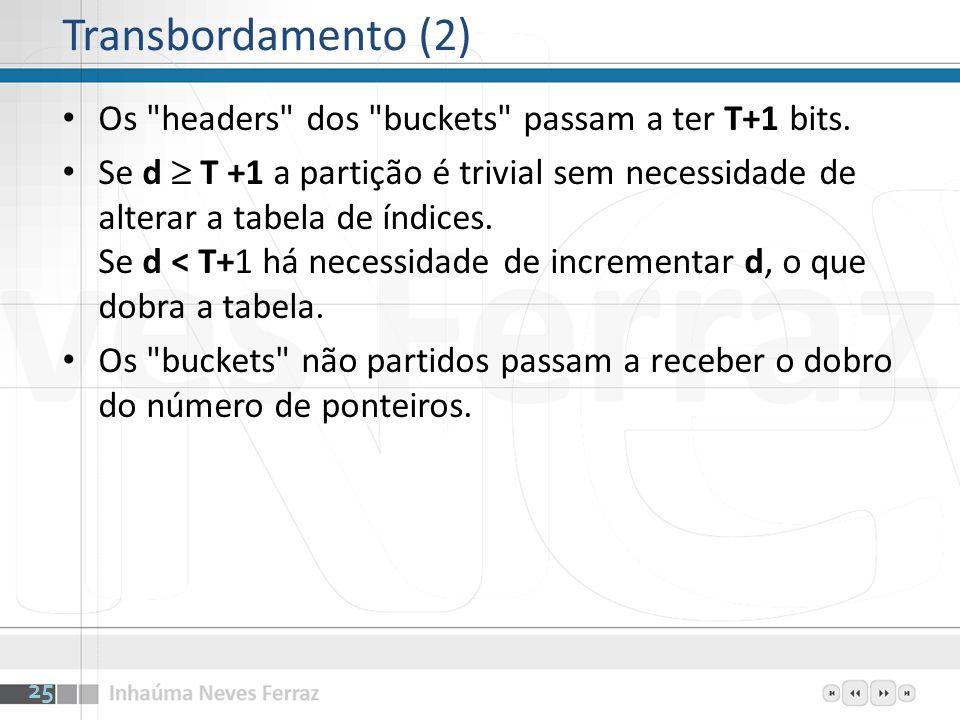 Transbordamento (2) Os headers dos buckets passam a ter T+1 bits.