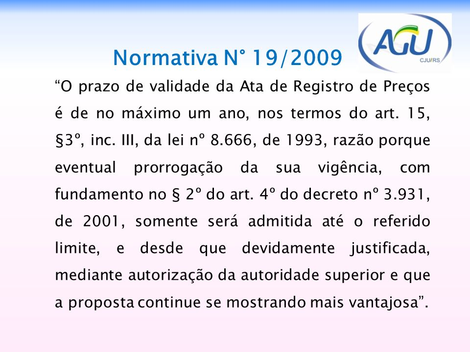Normativa N° 19/2009