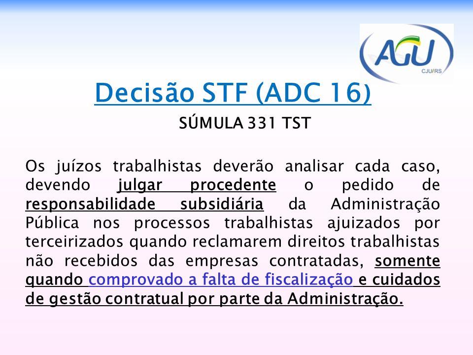 Decisão STF (ADC 16) SÚMULA 331 TST
