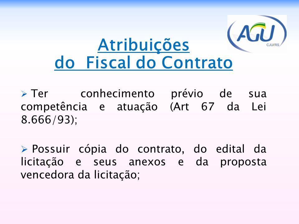 Atribuições do Fiscal do Contrato