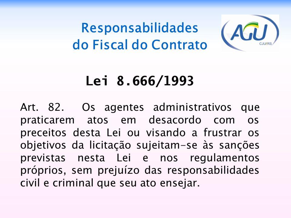 Responsabilidades do Fiscal do Contrato Lei 8.666/1993