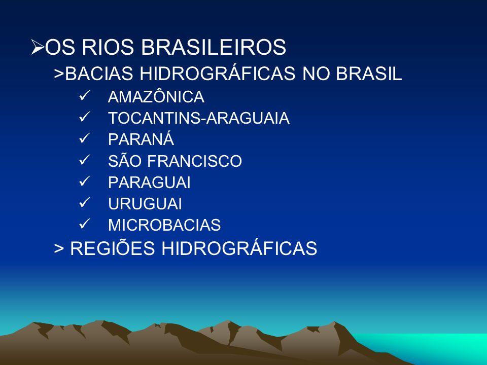 OS RIOS BRASILEIROS >BACIAS HIDROGRÁFICAS NO BRASIL