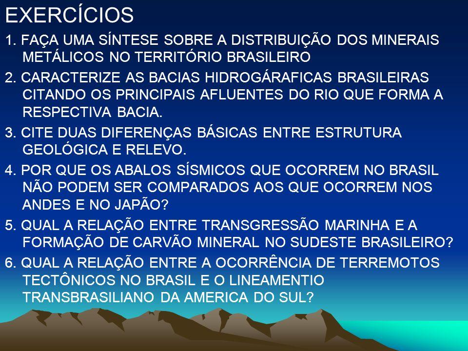 EXERCÍCIOS 1. FAÇA UMA SÍNTESE SOBRE A DISTRIBUIÇÃO DOS MINERAIS METÁLICOS NO TERRITÓRIO BRASILEIRO.