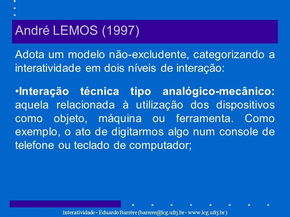 André LEMOS (1997) Adota um modelo não-excludente, categorizando a interatividade em dois níveis de interação: