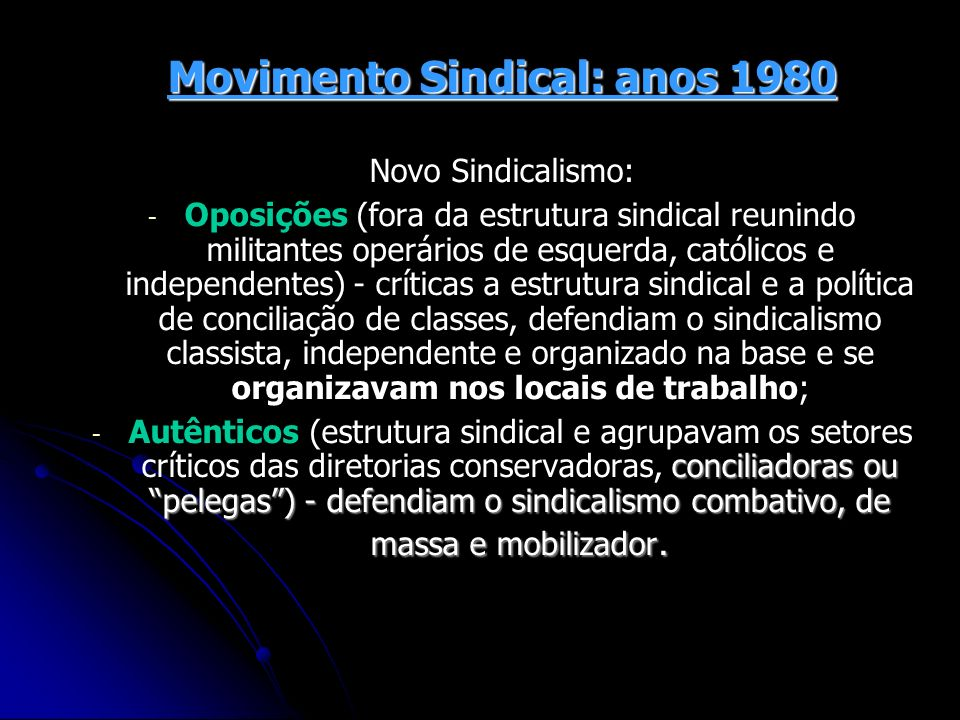 Movimento Sindical: anos 1980
