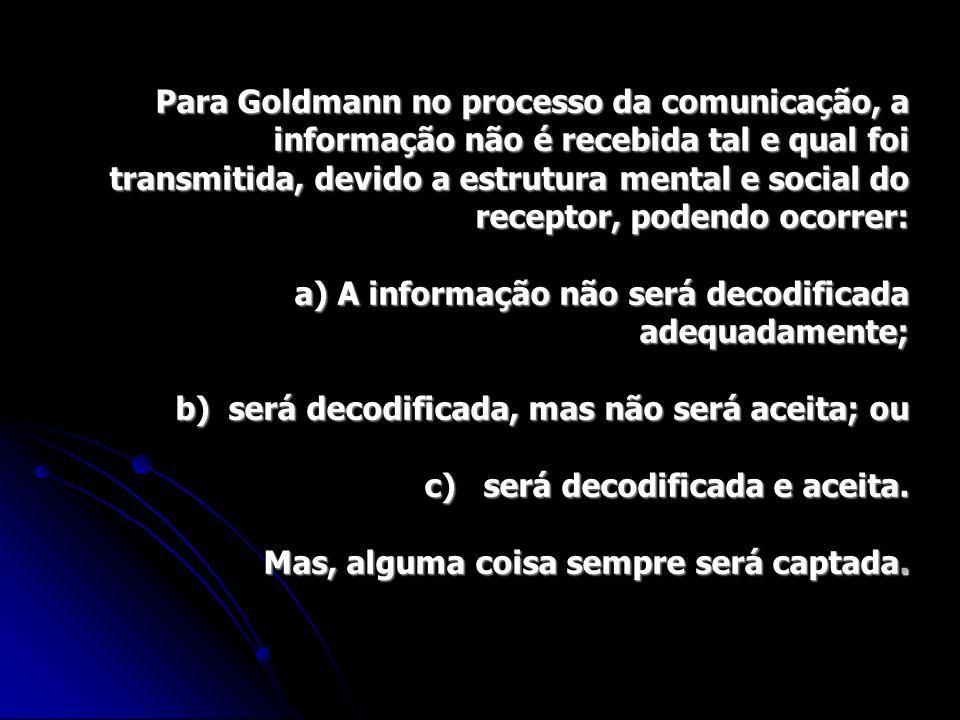 Para Goldmann no processo da comunicação, a informação não é recebida tal e qual foi transmitida, devido a estrutura mental e social do receptor, podendo ocorrer: a) A informação não será decodificada adequadamente; b) será decodificada, mas não será aceita; ou c) será decodificada e aceita.