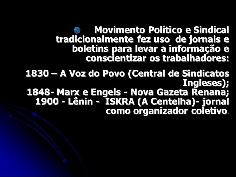 Movimento Político e Sindical tradicionalmente fez uso de jornais e boletins para levar a informação e conscientizar os trabalhadores: