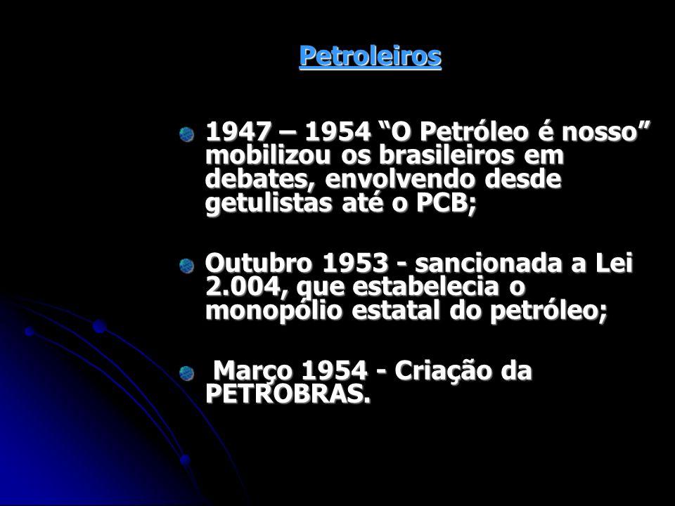 Petroleiros 1947 – 1954 O Petróleo é nosso mobilizou os brasileiros em debates, envolvendo desde getulistas até o PCB;