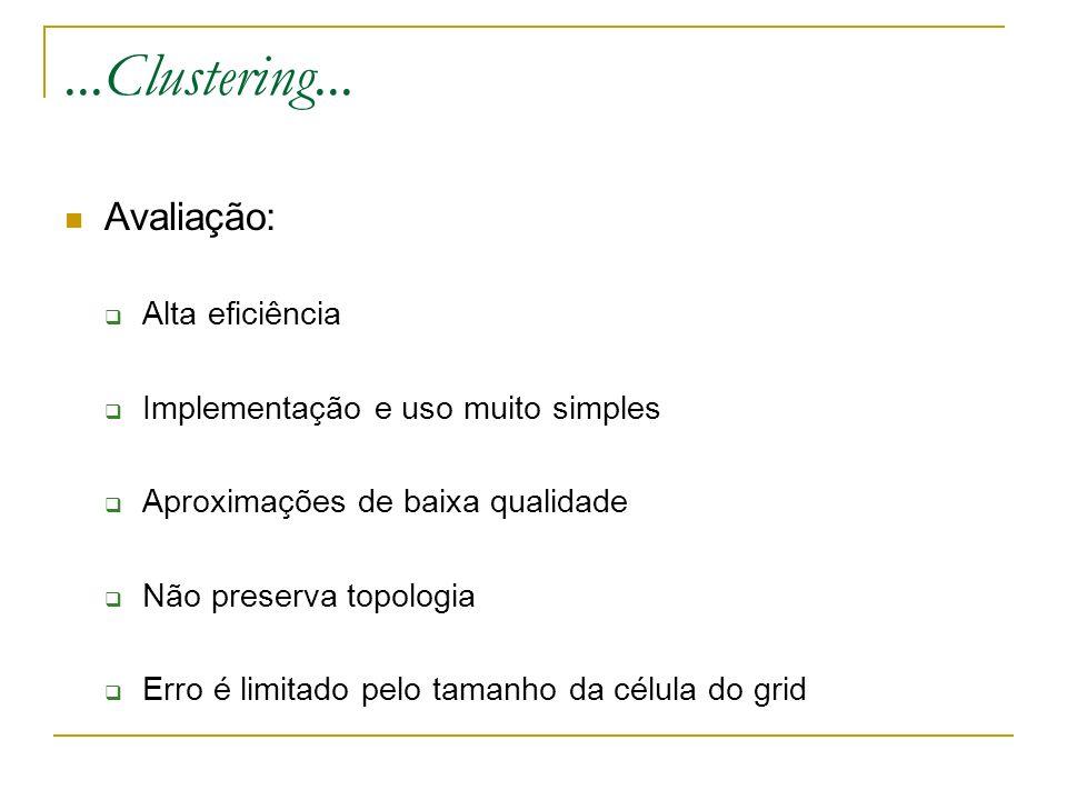 ...Clustering... Avaliação: Alta eficiência