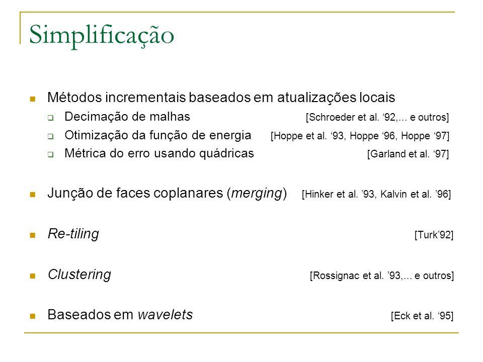 Simplificação Métodos incrementais baseados em atualizações locais