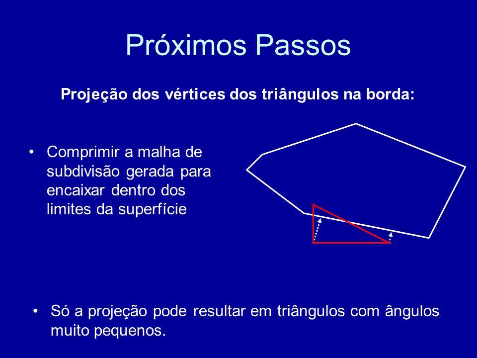 Próximos Passos Projeção dos vértices dos triângulos na borda: