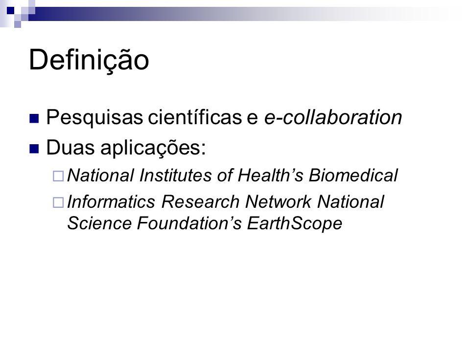 Definição Pesquisas científicas e e-collaboration Duas aplicações: