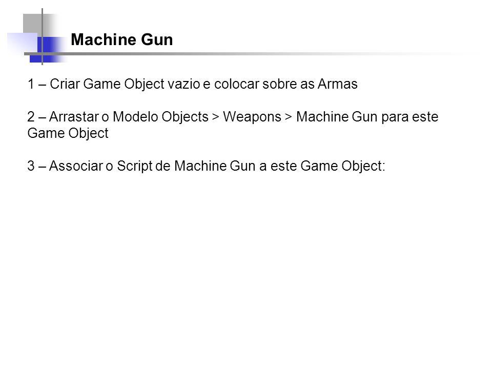 Machine Gun 1 – Criar Game Object vazio e colocar sobre as Armas