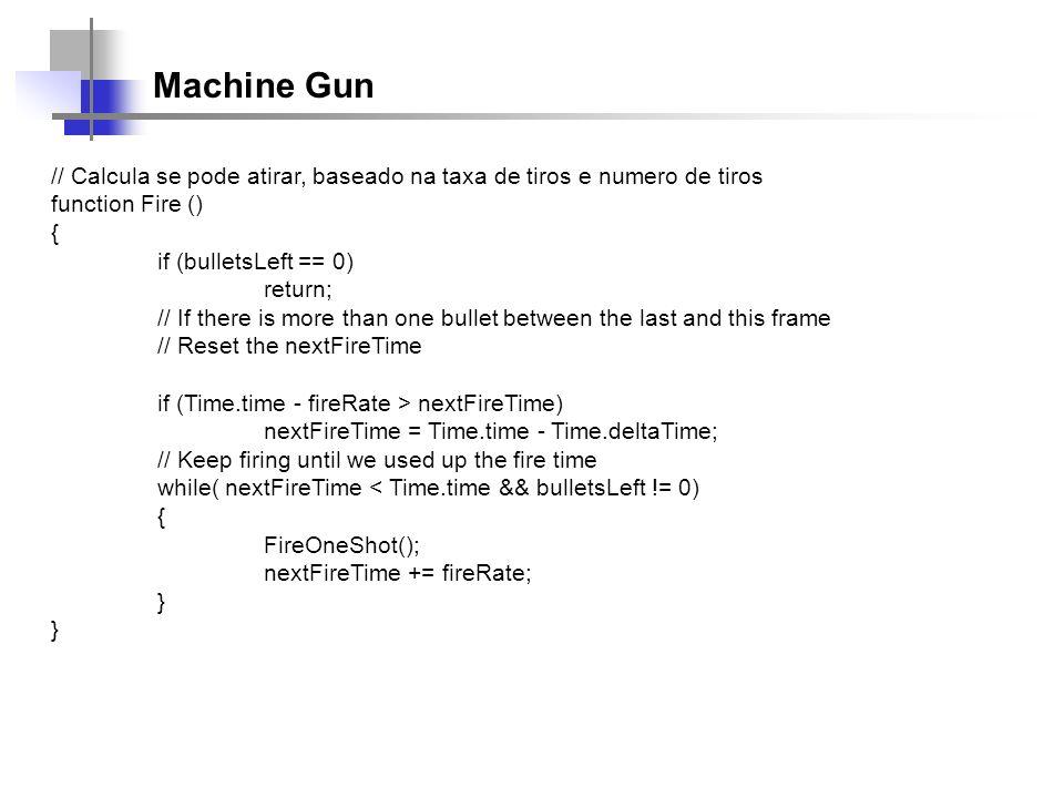 Machine Gun // Calcula se pode atirar, baseado na taxa de tiros e numero de tiros. function Fire ()