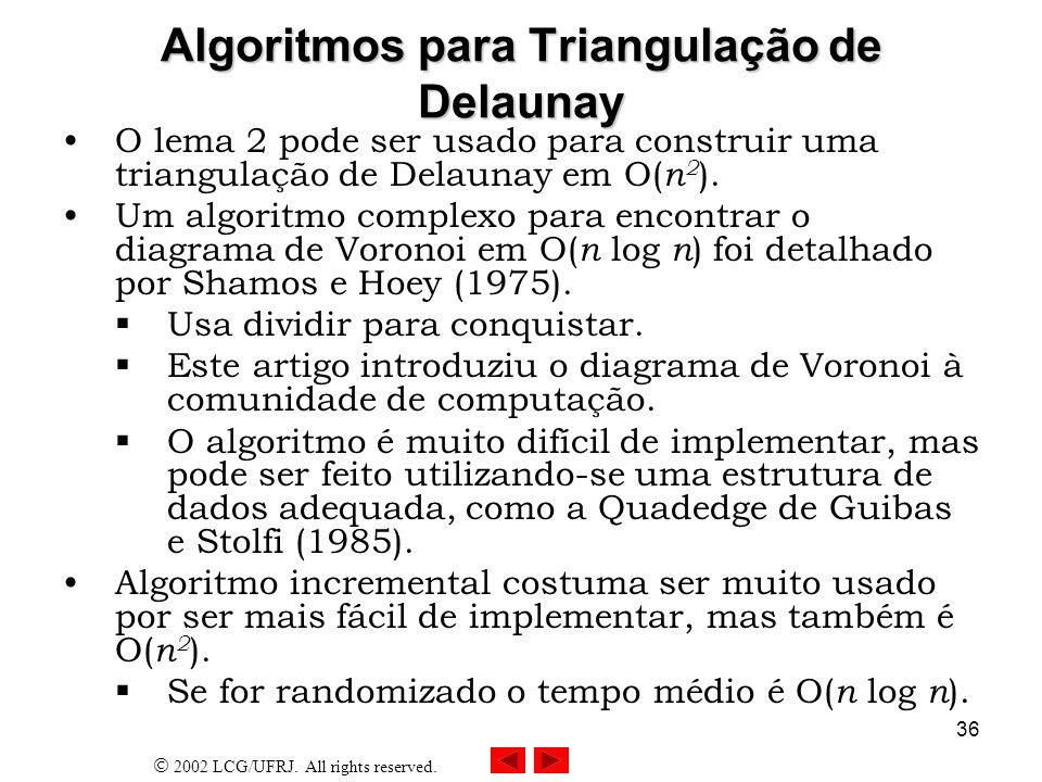 Algoritmos para Triangulação de Delaunay