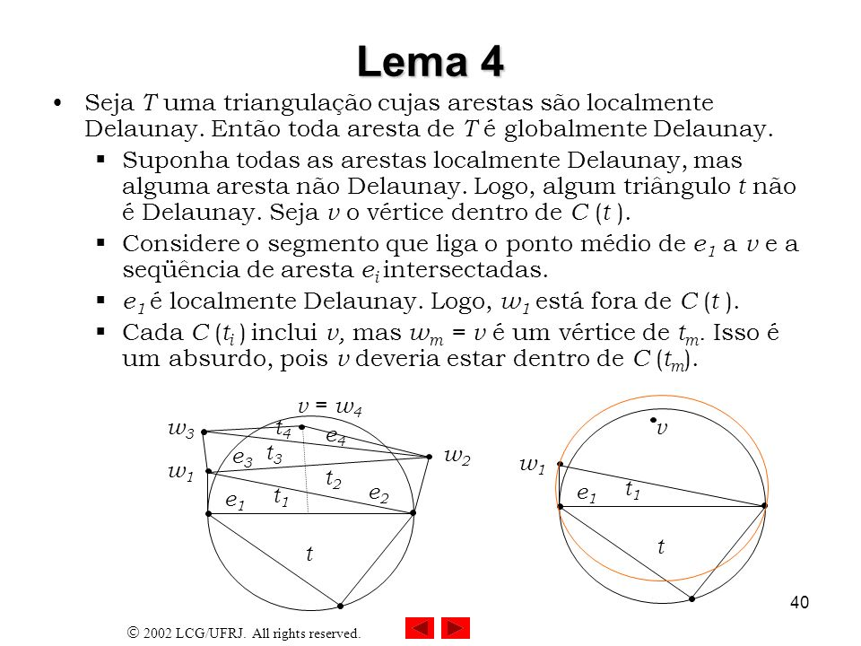 Lema 4Seja T uma triangulação cujas arestas são localmente Delaunay. Então toda aresta de T é globalmente Delaunay.