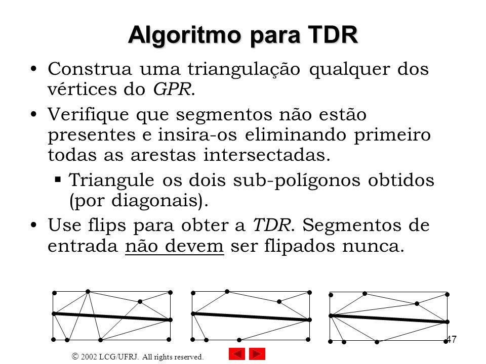 Algoritmo para TDR Construa uma triangulação qualquer dos vértices do GPR.