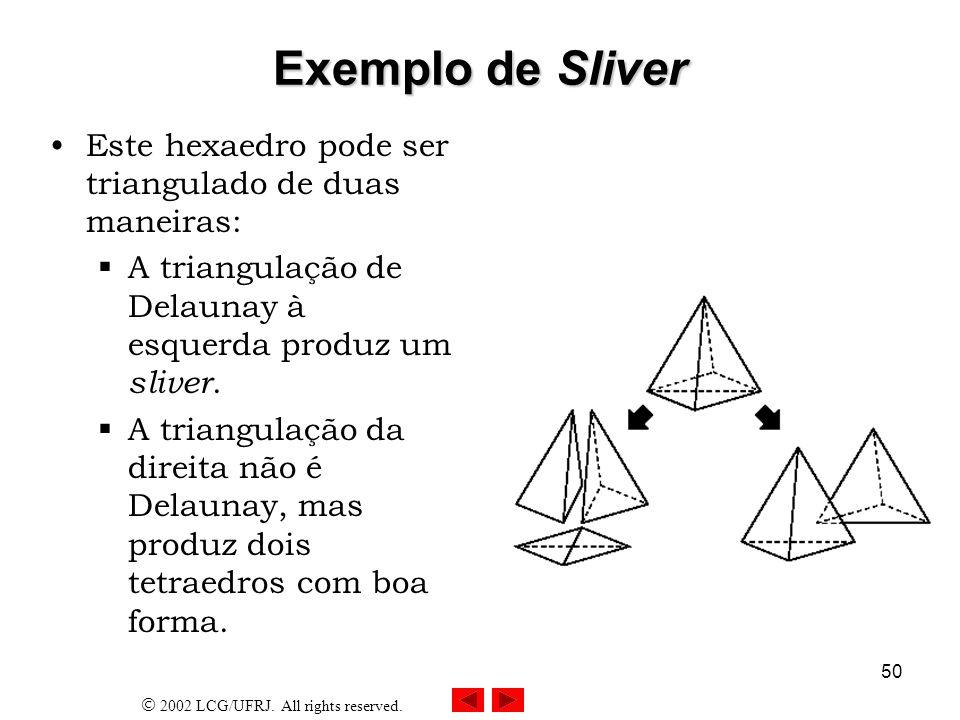 Exemplo de Sliver Este hexaedro pode ser triangulado de duas maneiras: