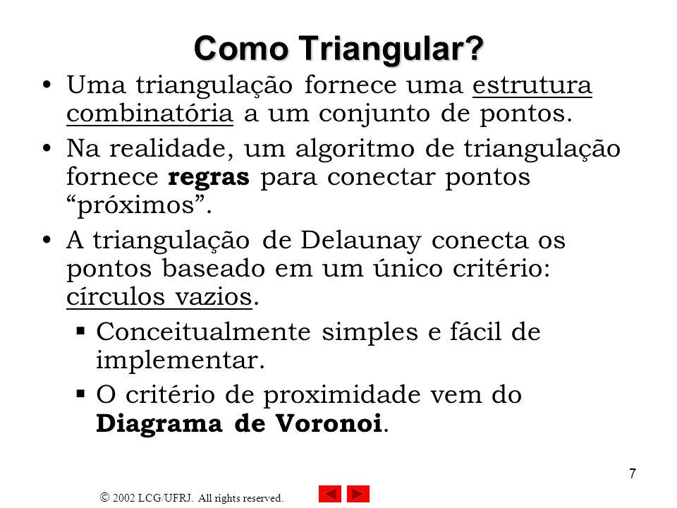 Como Triangular Uma triangulação fornece uma estrutura combinatória a um conjunto de pontos.