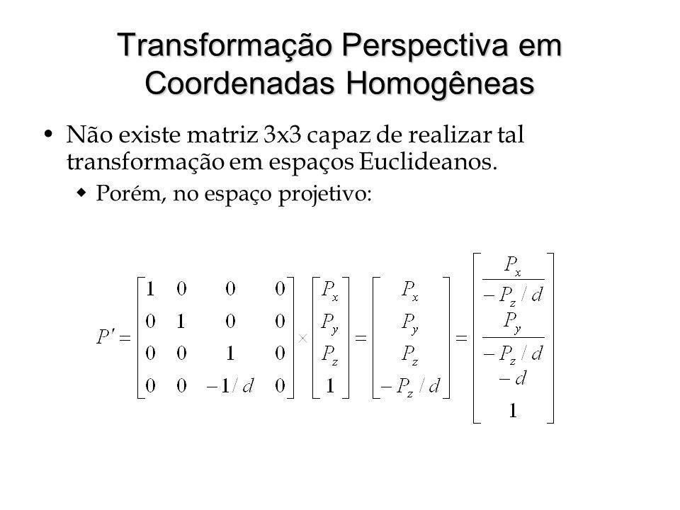 Transformação Perspectiva em Coordenadas Homogêneas