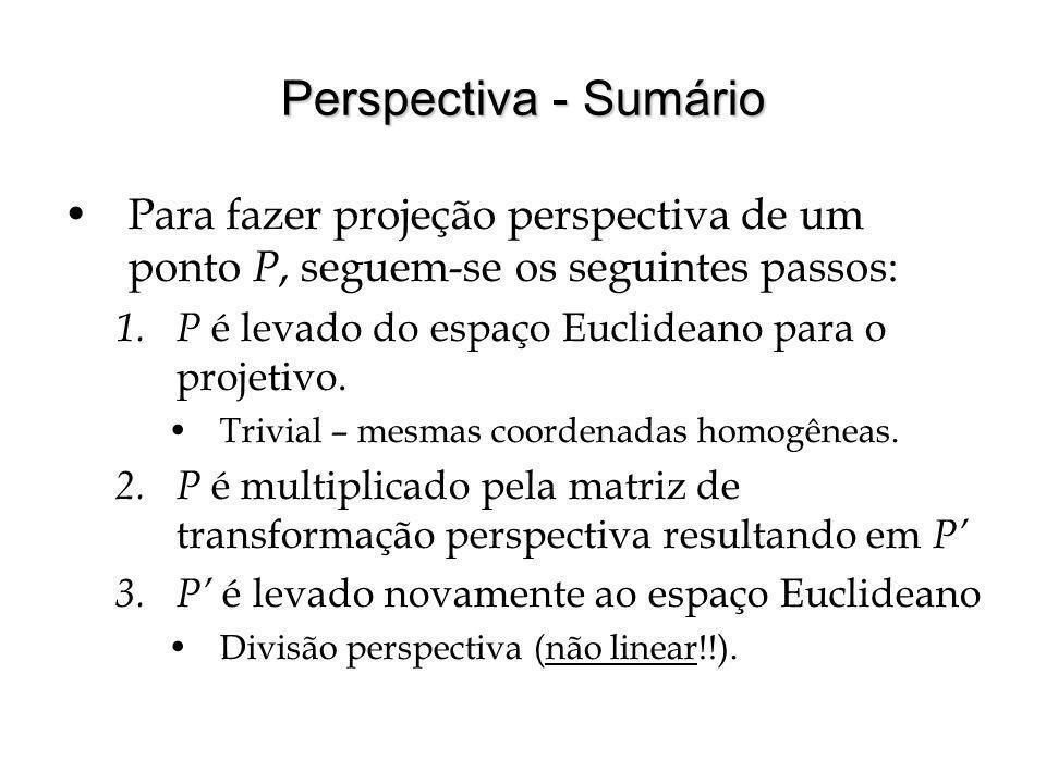 Perspectiva - Sumário Para fazer projeção perspectiva de um ponto P, seguem-se os seguintes passos:
