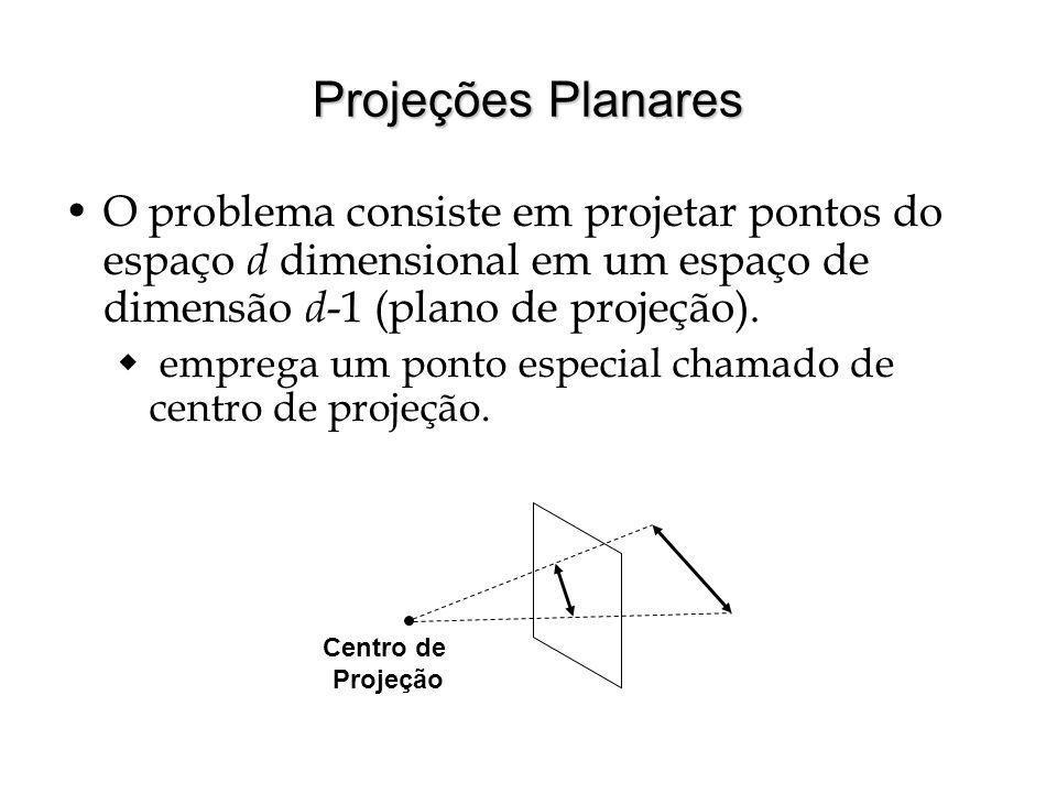 Projeções Planares O problema consiste em projetar pontos do espaço d dimensional em um espaço de dimensão d-1 (plano de projeção).