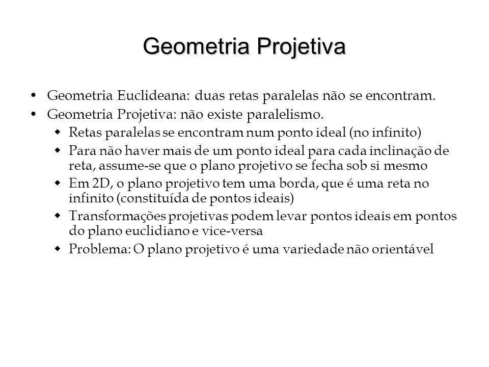 Geometria Projetiva Geometria Euclideana: duas retas paralelas não se encontram. Geometria Projetiva: não existe paralelismo.