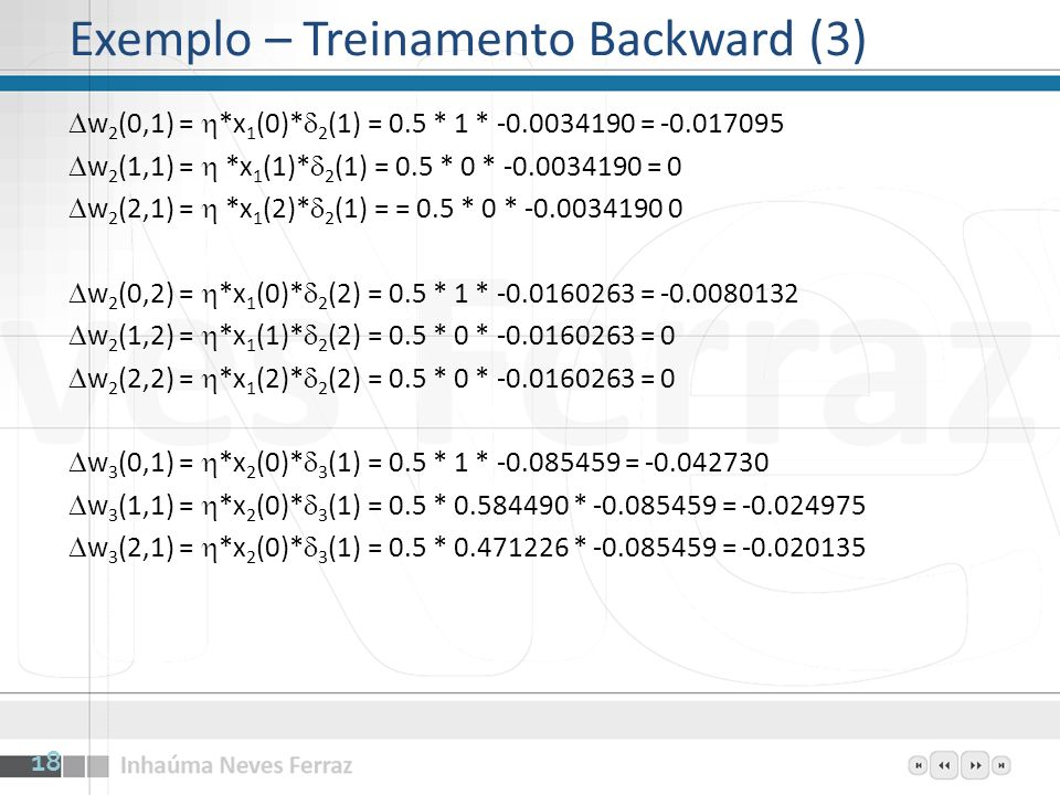 Exemplo – Treinamento Backward (3)