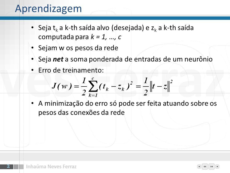 Aprendizagem Seja tk a k-th saída alvo (desejada) e zk a k-th saída computada para k = 1, …, c. Sejam w os pesos da rede.