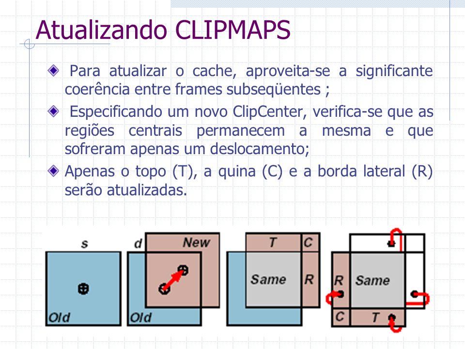 Atualizando CLIPMAPS Para atualizar o cache, aproveita-se a significante coerência entre frames subseqüentes ;