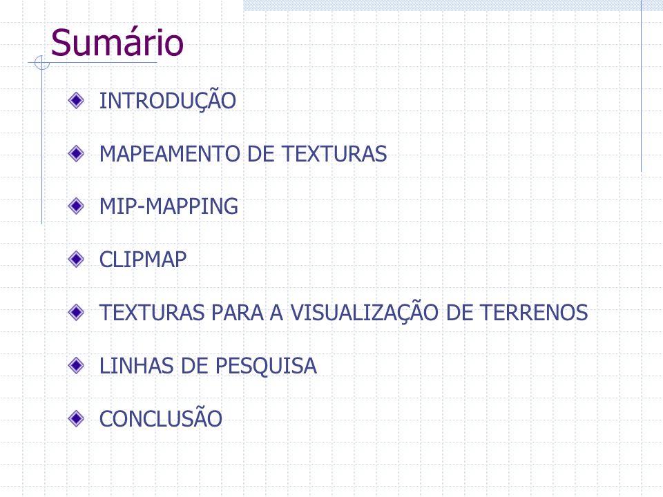 Sumário INTRODUÇÃO MAPEAMENTO DE TEXTURAS MIP-MAPPING CLIPMAP
