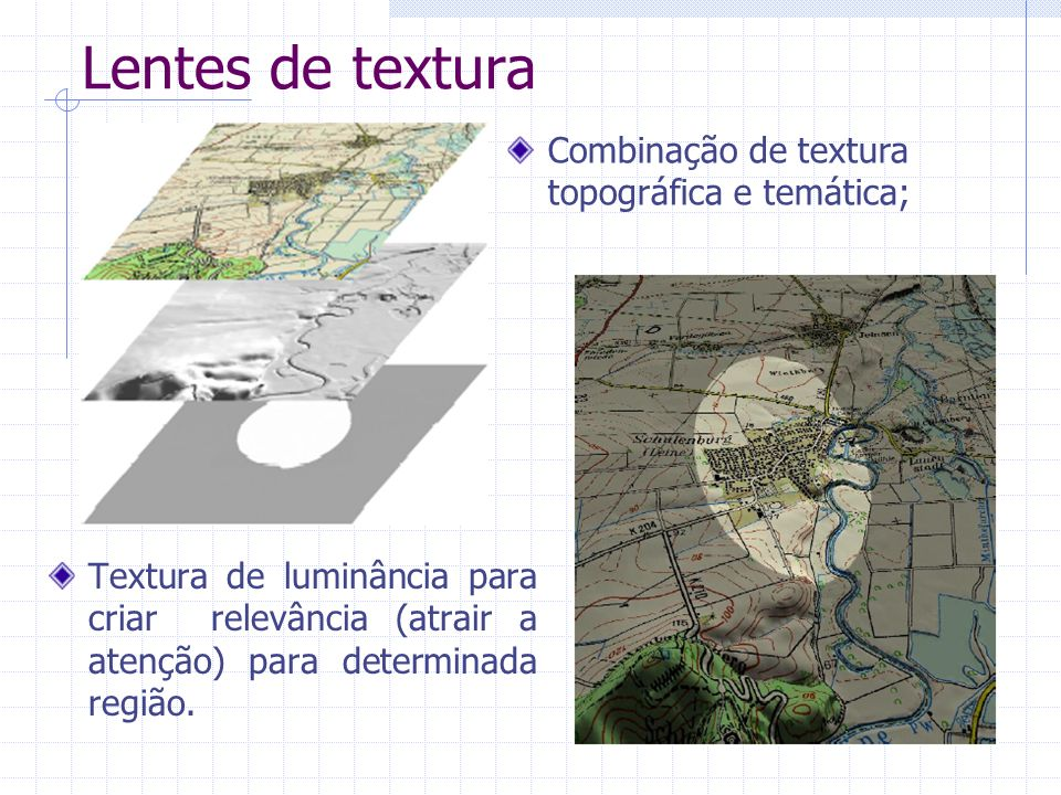 Lentes de textura Combinação de textura topográfica e temática;