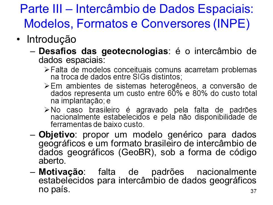 Parte III – Intercâmbio de Dados Espaciais: Modelos, Formatos e Conversores (INPE)