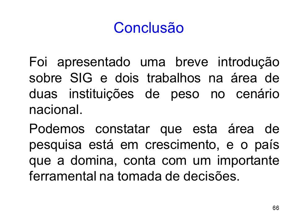 Conclusão Foi apresentado uma breve introdução sobre SIG e dois trabalhos na área de duas instituições de peso no cenário nacional.