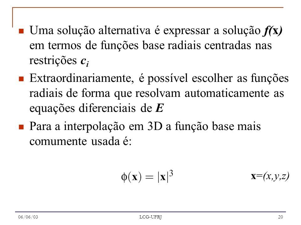 Para a interpolação em 3D a função base mais comumente usada é: