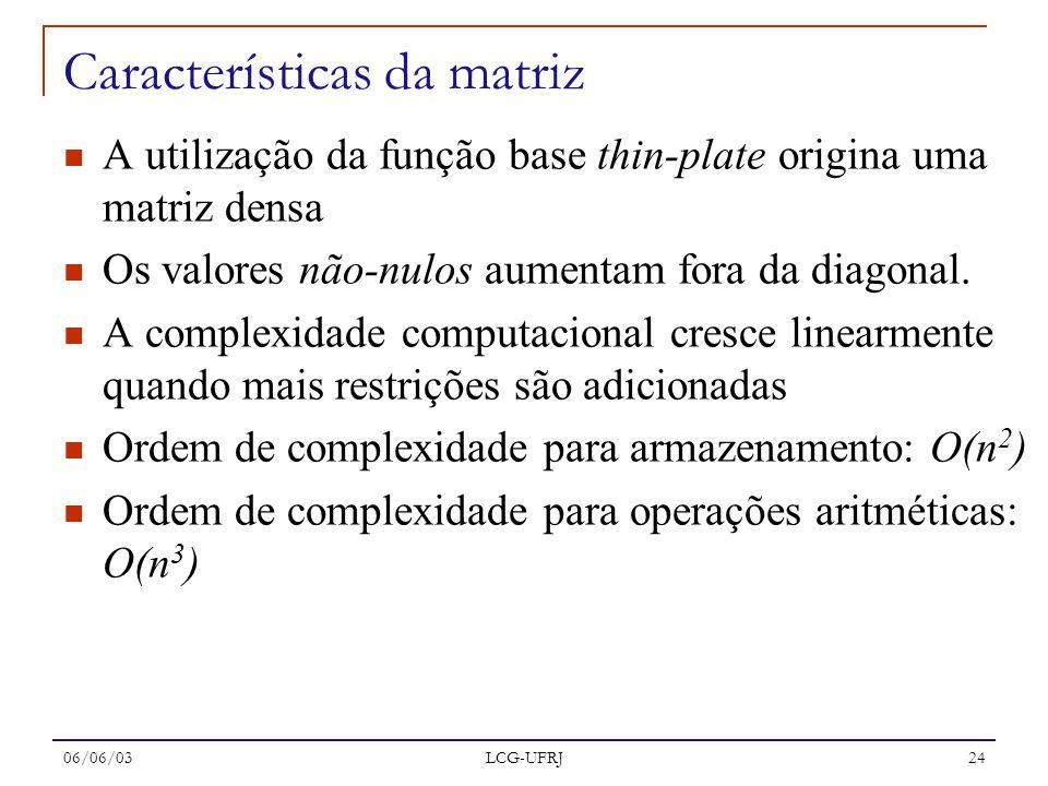 Características da matriz