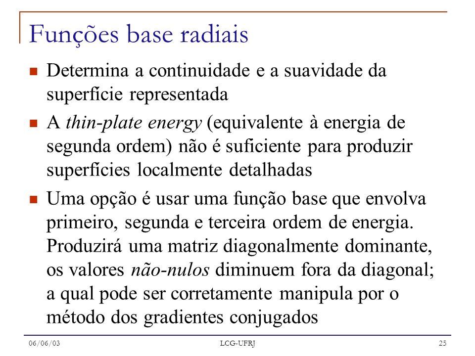 Funções base radiais Determina a continuidade e a suavidade da superfície representada.