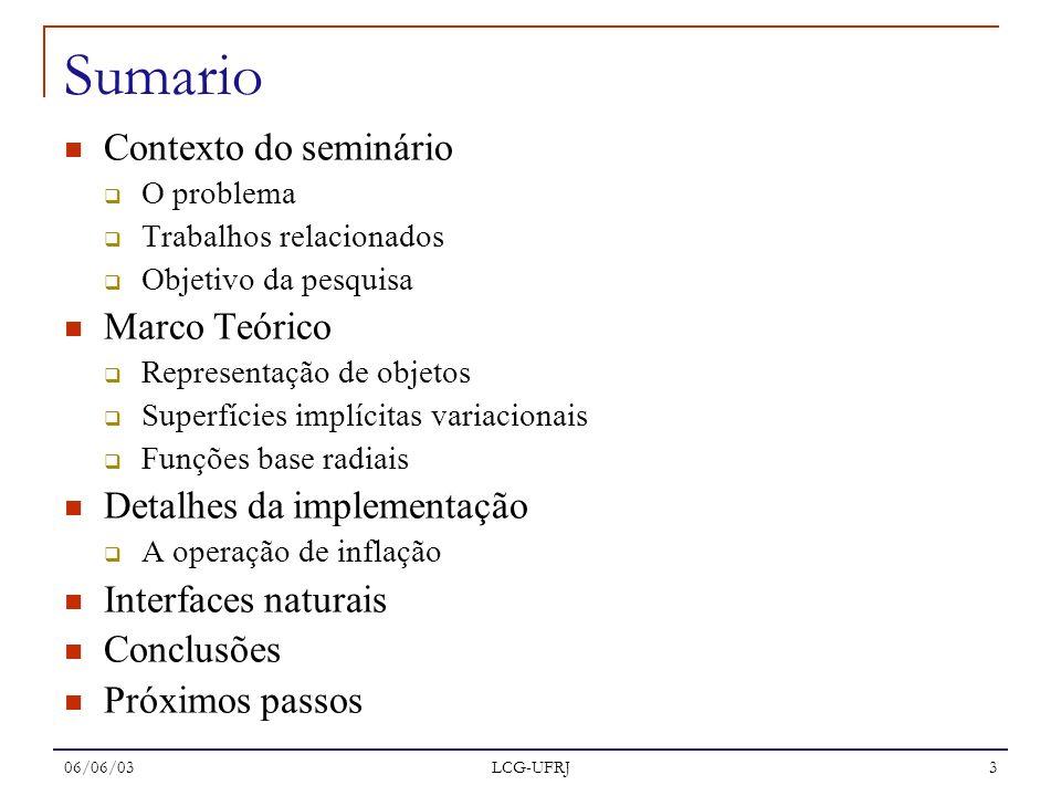 Sumario Contexto do seminário Marco Teórico Detalhes da implementação